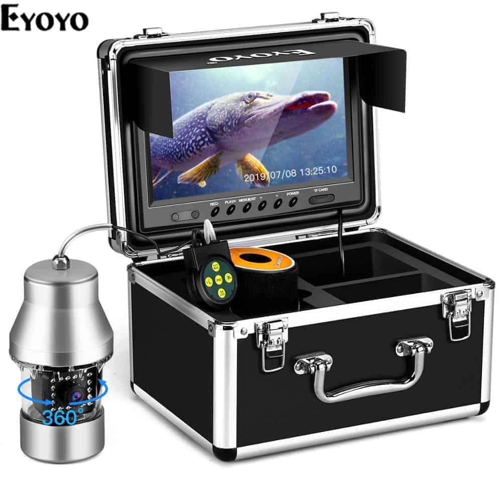 Eyoyo Underwater Fishing Camera Video Fish Finder DVR Function 9 inch Large Color Screen 360° Horizontal Panning Camera 1000TVL w/ 18 Infrared IR Lights 30M