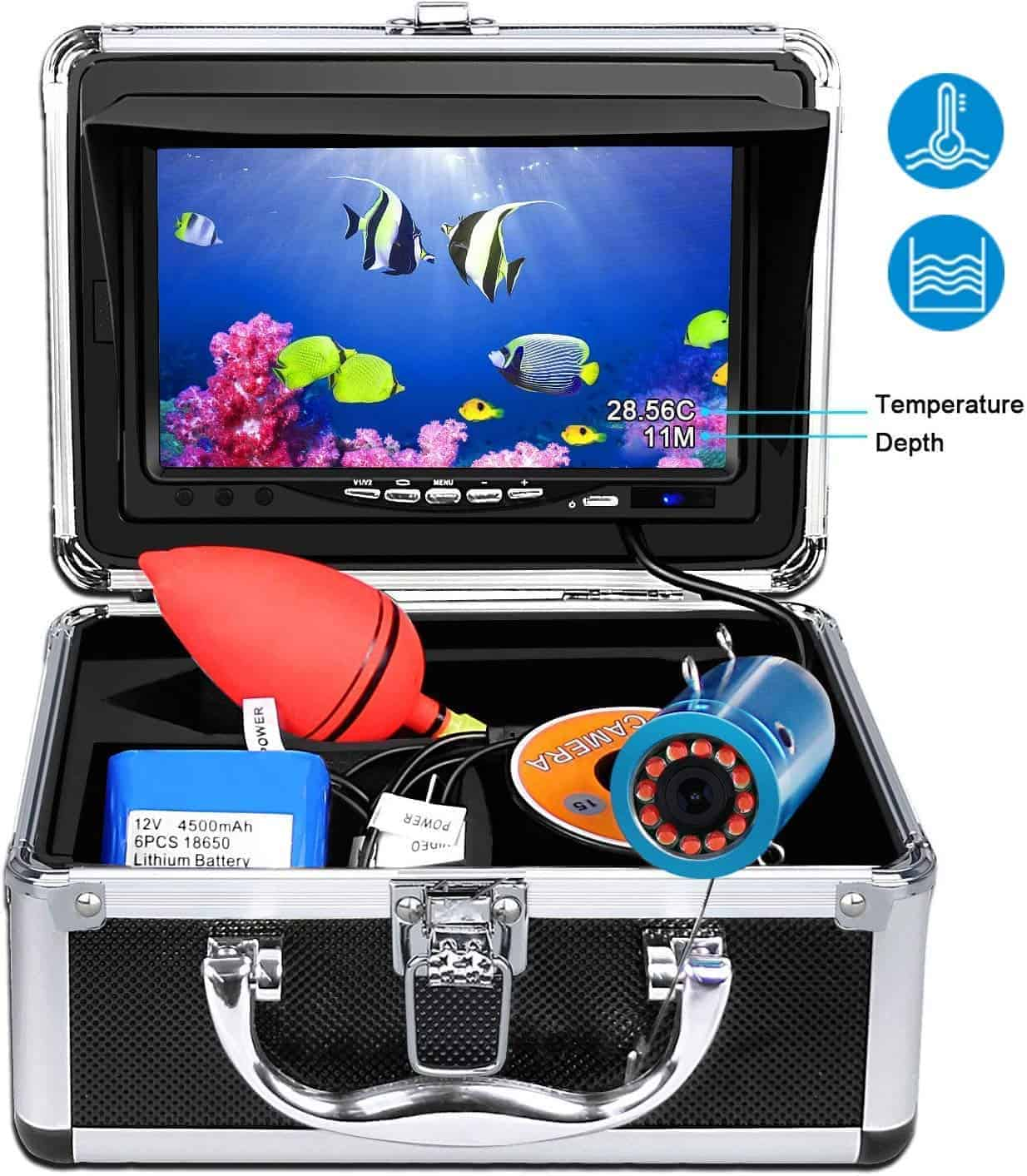 Portable Underwater Fishing Camera,HXEY with Water Depth and Temperature Function IP68 Waterproof
