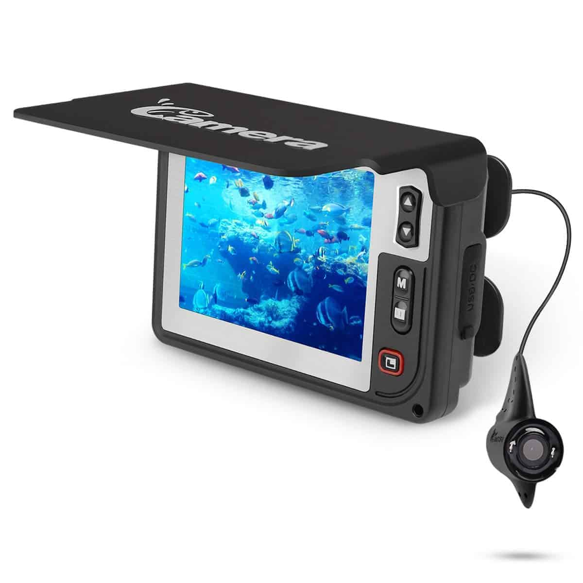 Underwater Fishing Camera , Moocor Portable Fishing Finder Camera HD1000 TVL Infrared LED Waterproof Camera with 3.5 Inch LCD Monitor